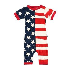 Csecsemő rövidujjú pizsama overál USA zászló