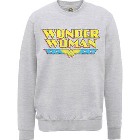 Šedá mikina bez kapucne DC Comics Wonder Woman Logo Crackle