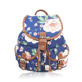 Rucsac tip sac Dark blue retro flower