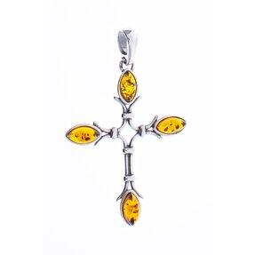 Stříbrný přívěsek s jantarem křížek