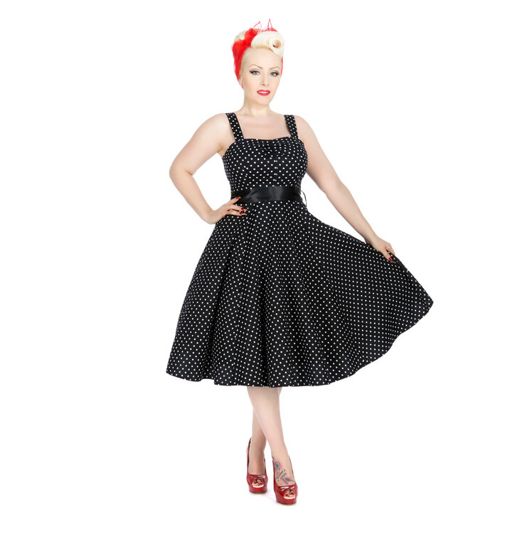Black Dotted Retro Pin Up Dress Dedoles