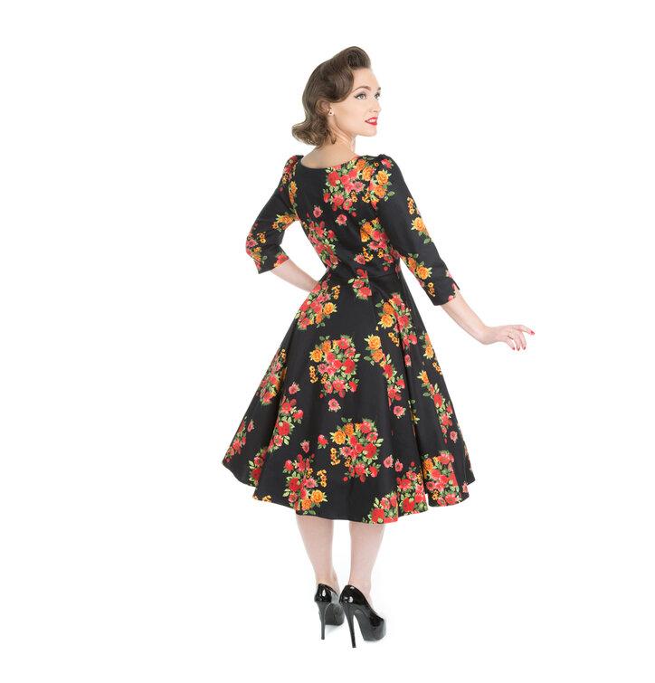 b620a75cba1f Zľava Čierne retro pin up šaty s rukávom Súkvetie