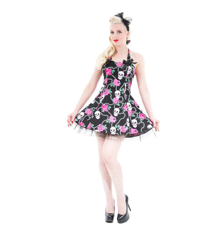 da9bd2a247 Fekete rövid gótikus ruha Koponyák és rózsák | Dedoles
