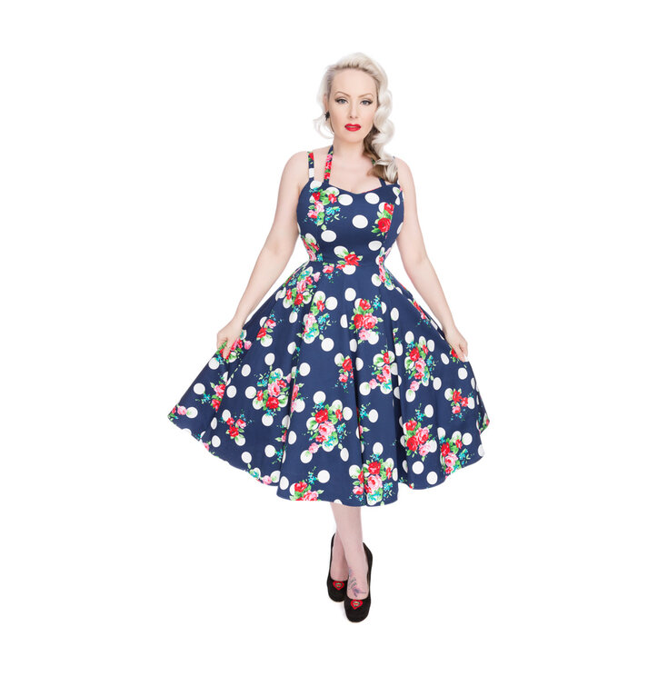 Blue Dotted Retro Pin Up Dress Red Flowers | Dedoles