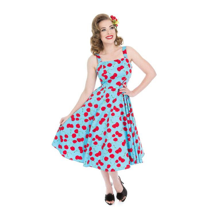 Blue Retro Pin Up Dress Cherries | Dedoles