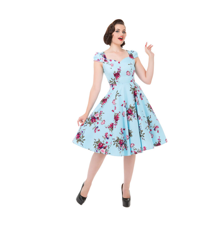 Blue Retro Pin Up Dress Pink Roses