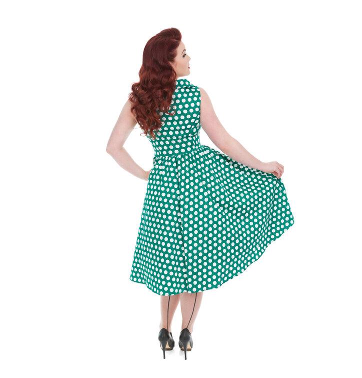 fde4a9511b79 Obrázok produktu Zelené bodkované retro pin up šaty