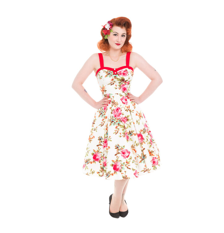 Ivory Retro Pin Up Dress Pink Roses
