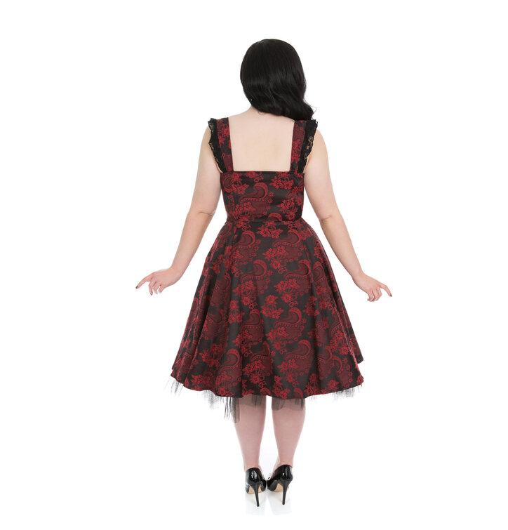 edeaa0b7f4f8 Potešte sa týmto kúskom Dedoles Červeno-čierne gotické retro šaty s kvetmi