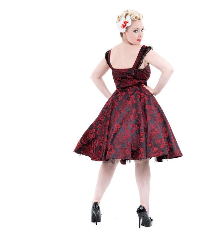 9a0b63cf2d03 Pre dokonalý a originálny outfit Červeno-čierne gotické retro šaty s kvetmi