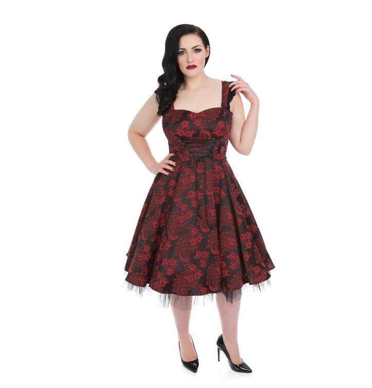 eb8dd72c4ddb Zľava Červeno-čierne gotické retro šaty s kvetmi