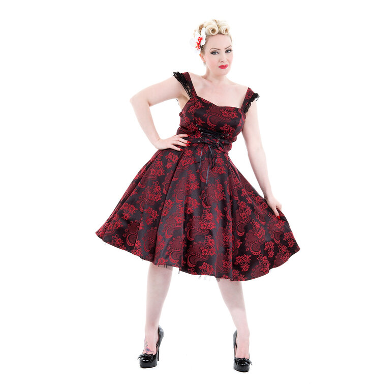 Red and Black Gothic Retro Dress with Flowers