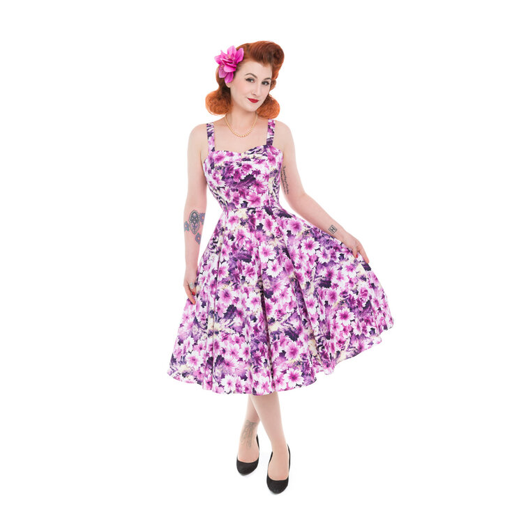 Retro Pin Up Dress Purple Flowers
