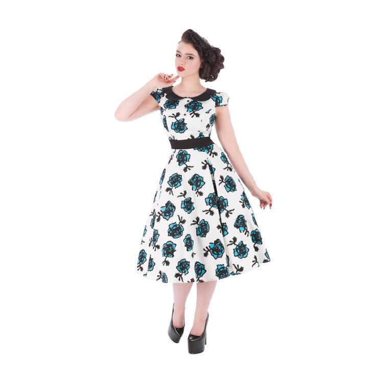 3b952329a3f5 Pre dokonalý a originálny outfit Biele retro pin up šaty Modré ruže
