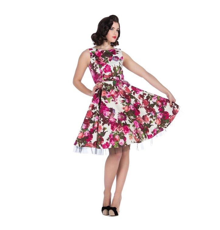 White Retro Pin Up Dress Pink Flowers