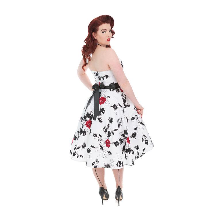 db210a20817 Tip na dárek Bílé retro pin up šaty Červené růže