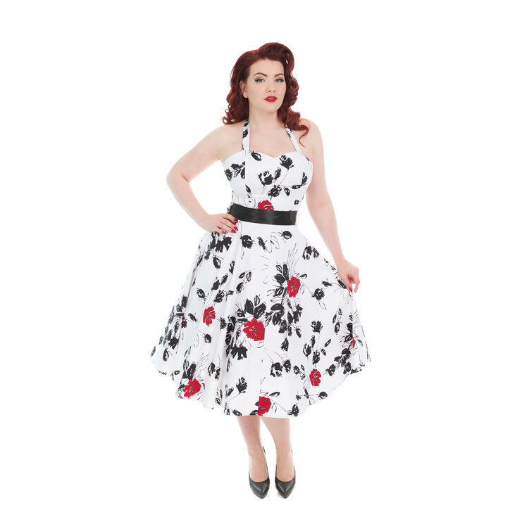 085967e070c8 Original gift White Retro Pin Up Dress Red Roses