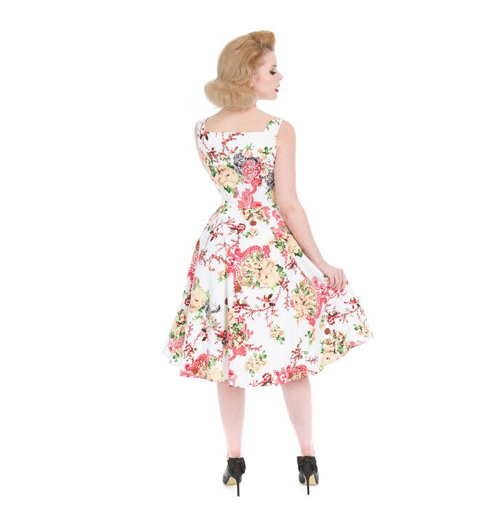3b09bdf9a57d Sleva Bílé retro pin up šaty Letní květy