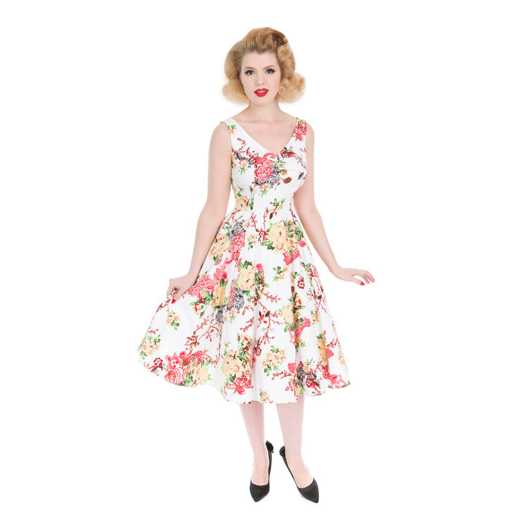 White Retro Pin Up Dress Summer Flowers | Dedoles