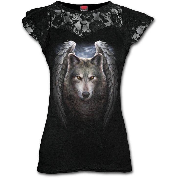 4a9bb087c989 Výpredaj Dámske tričko s čipkou Požehnaný vlk