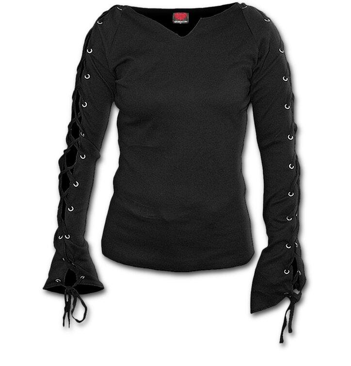 Foto Dámské tričko s vázáním Černé 1b73eaba34