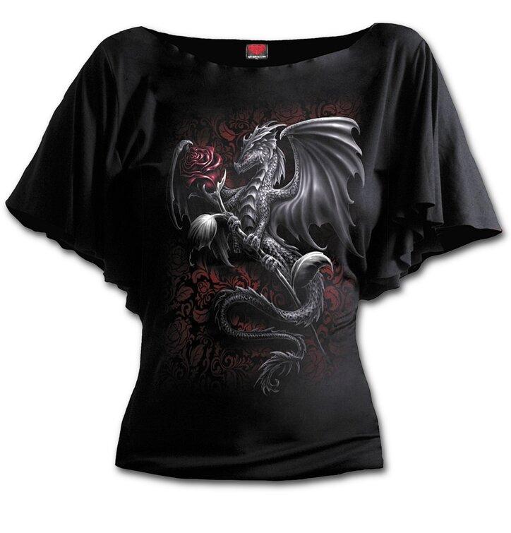Dámske volánové tričko Drak s ružou