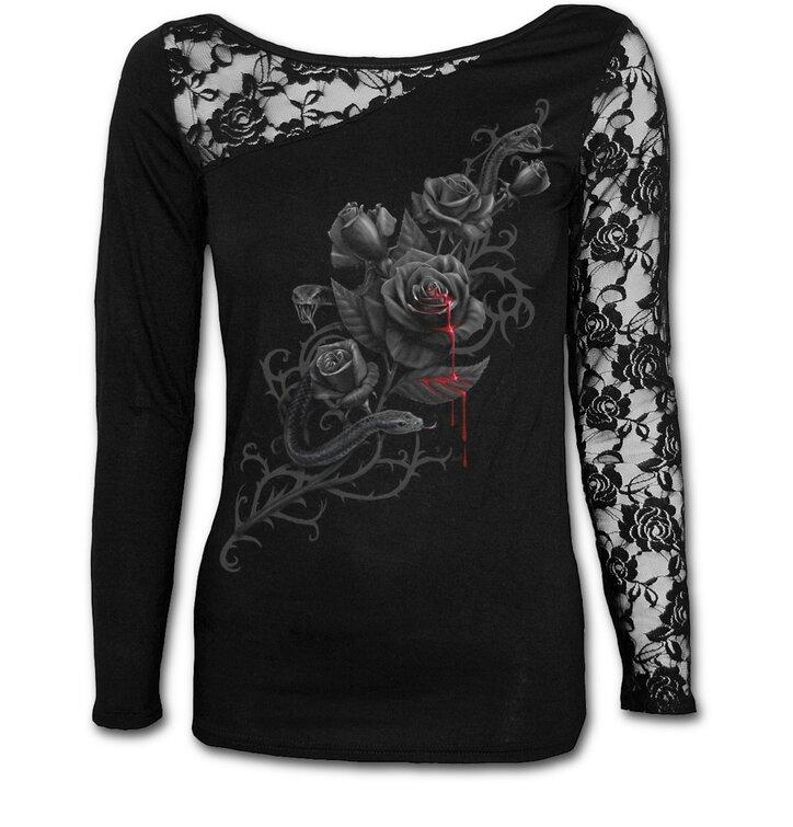 Potěšte se tímto kouskem Dedoles Dámské tričko s krajkou Záhon růží e21dc6001a