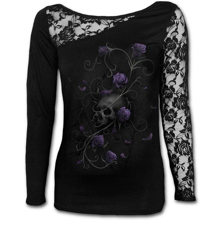 Dámske tričko s čipkou Fialové ruže