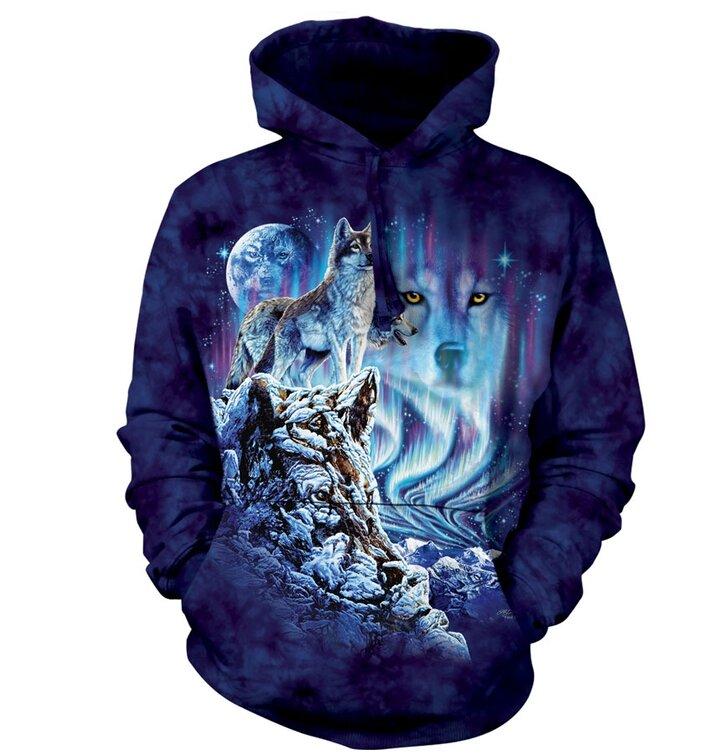 Sweatshirt mit Kapuze Wolf als Herrscher