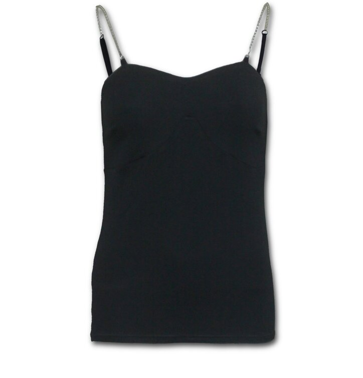 Ladies' Tank Top with Chain Straps and Design Black