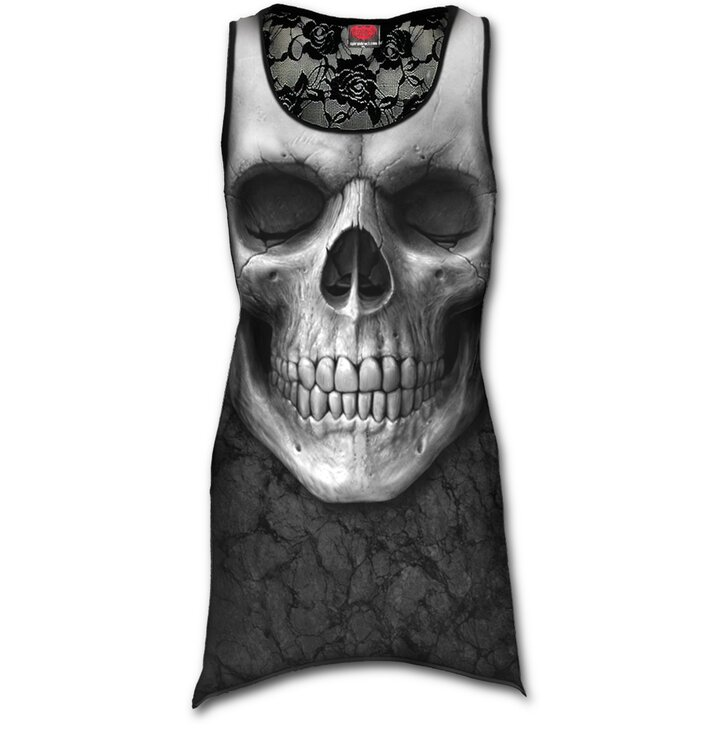 fa9faa9c7 Ladies' Long Lace Tank Top with Design White Skull | Dedoles