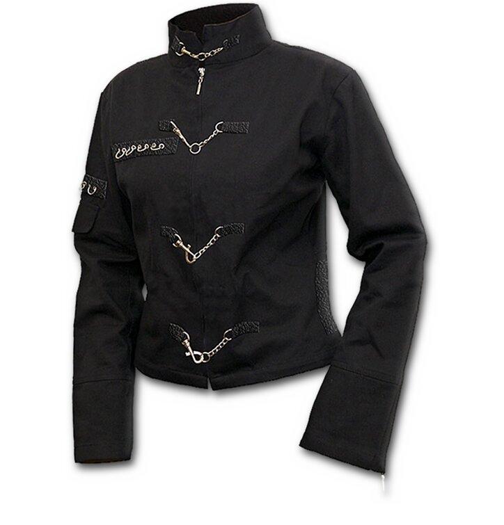 pro dokonalý a originální outfit Černá dámská bunda s řetízkovými aplikacemi 6c64f8485c