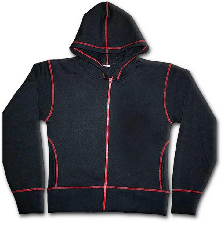 Ladies  Black Zip Hoodie with Red Stitching  d81f89c03d