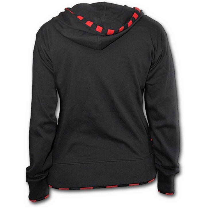 9f44e6c0c65 Lifestyle foto Damska černá mikina klokanka s červeno-černým lemem