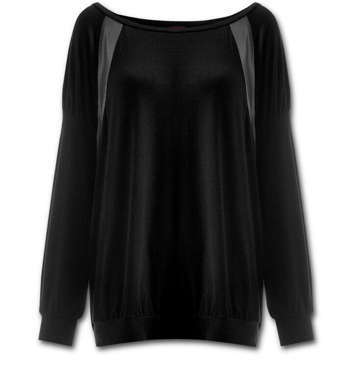Čierne dámske padavé tričko s imitáciou kože