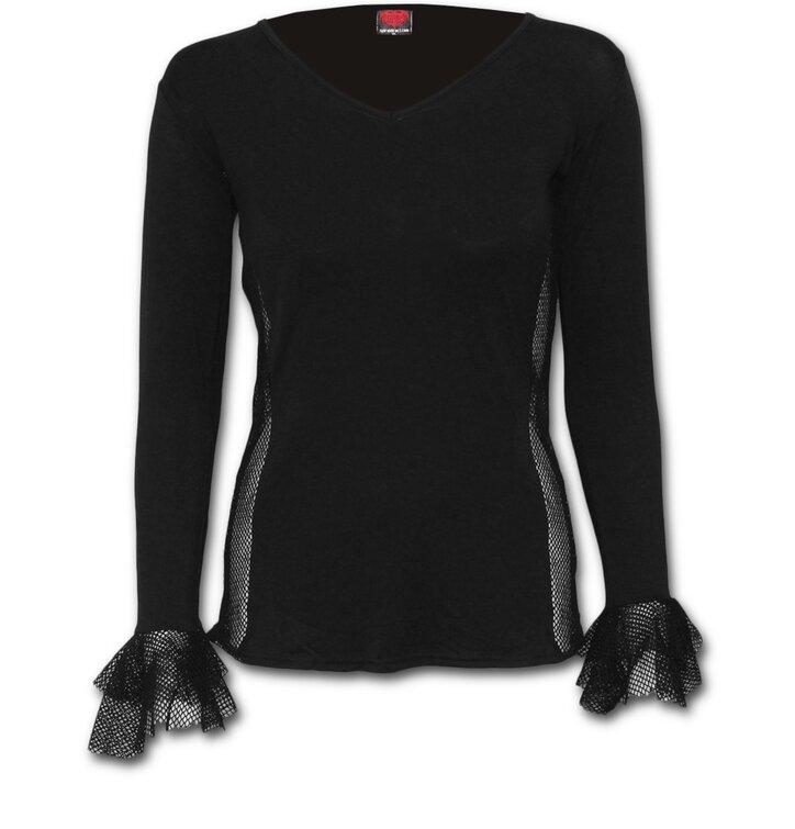35c559339d1 Ladies' Black T-shirt with Long Sleeve and Mesh Ruffles | Dedoles