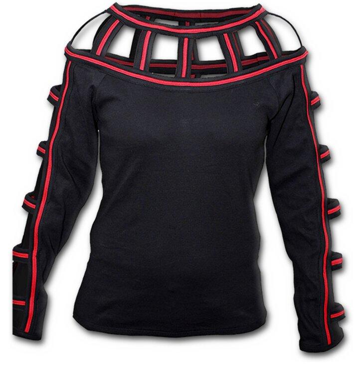 Potěšte se tímto kouskem Dedoles Černé dámské tričko s mřížkami kolem krku ffd616a59f