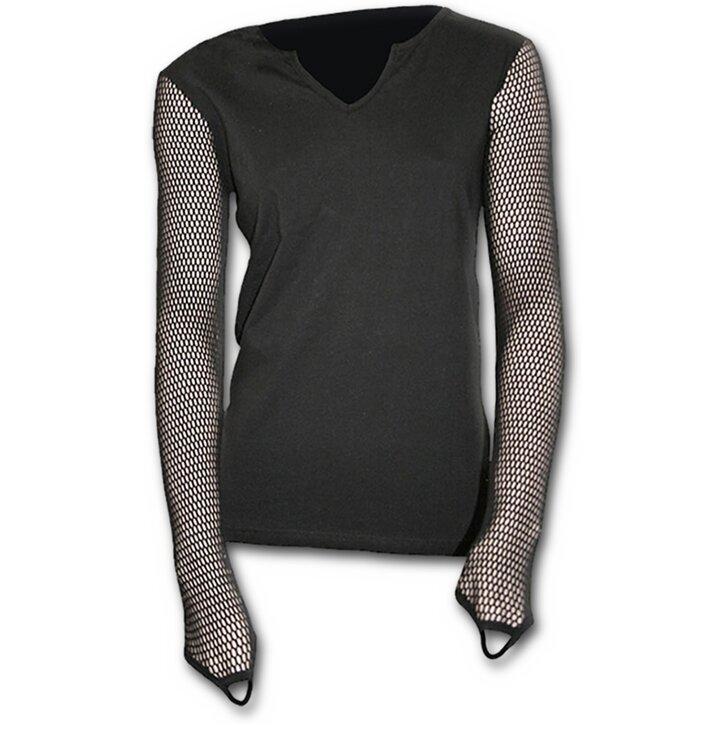 Lifestyle foto Černé dámské tričko se síťovanými rukávy ebda4dbd6f