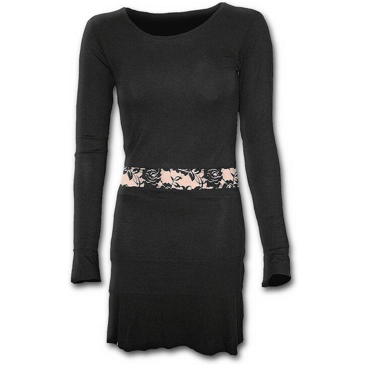 Čierne krátke šaty s dlhým rukávom a čipkovou aplikáciou