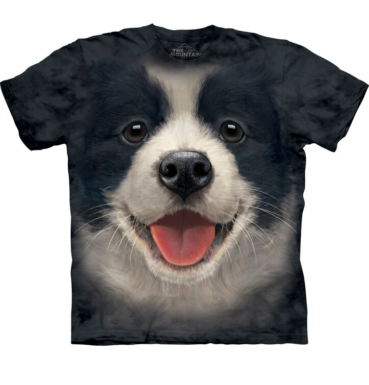 Schwarzes T-Shirt Border Collie Welpe