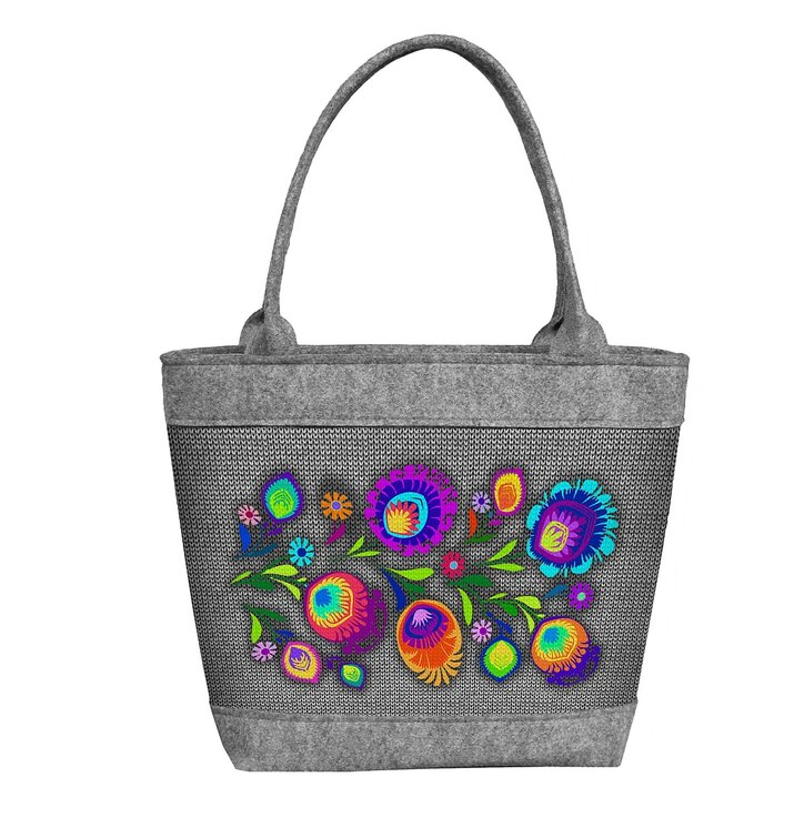 Ladies' Eco-felt Polo Handbag Folk Flowers