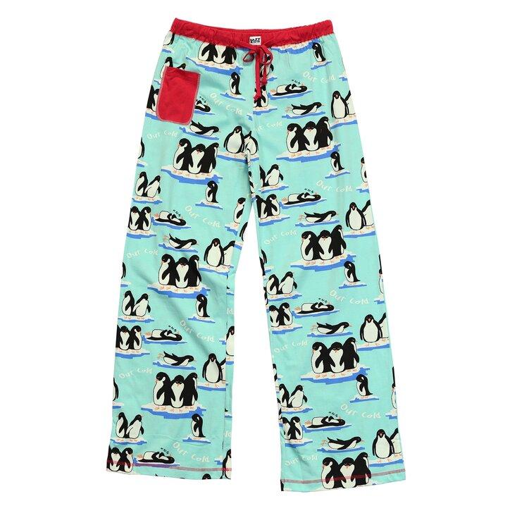 Dámske modré pyžamové nohavice Spiace tučniaky