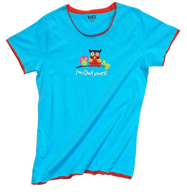 Dámske modré tričko na spanie Sovy