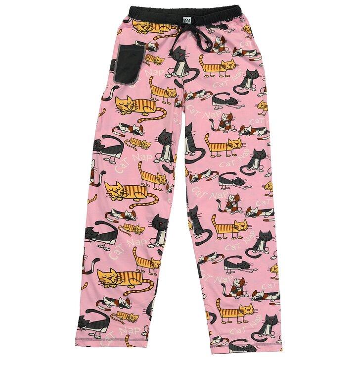 Női rózsaszín pizsama nadrág Macskák
