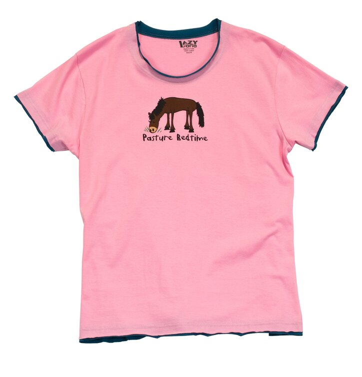 Dámske ružové tričko na spanie Ospalý kôň