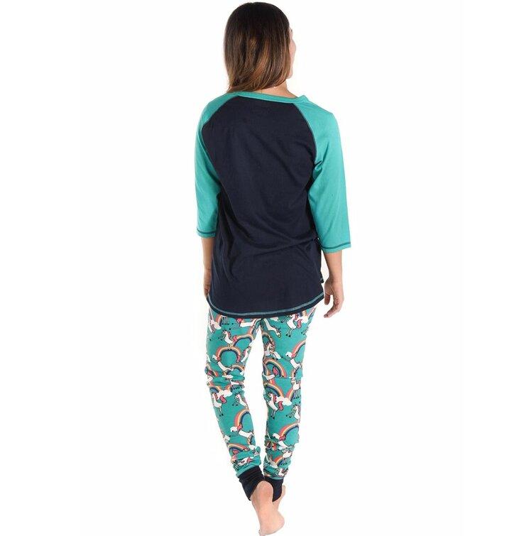 pro dokonalý a originální outfit Dámské triko na spaní s tříčtvrtečním  rukávem Duha a jednorožci e876926f5f