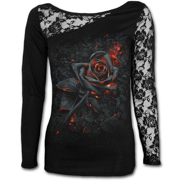 Dámske tričko s čipkou s motívom Ohnivá ruža