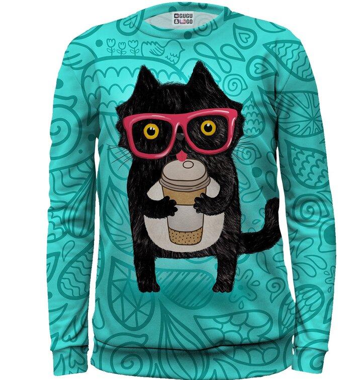 Kids' Sweatshirt Cat with Coffee
