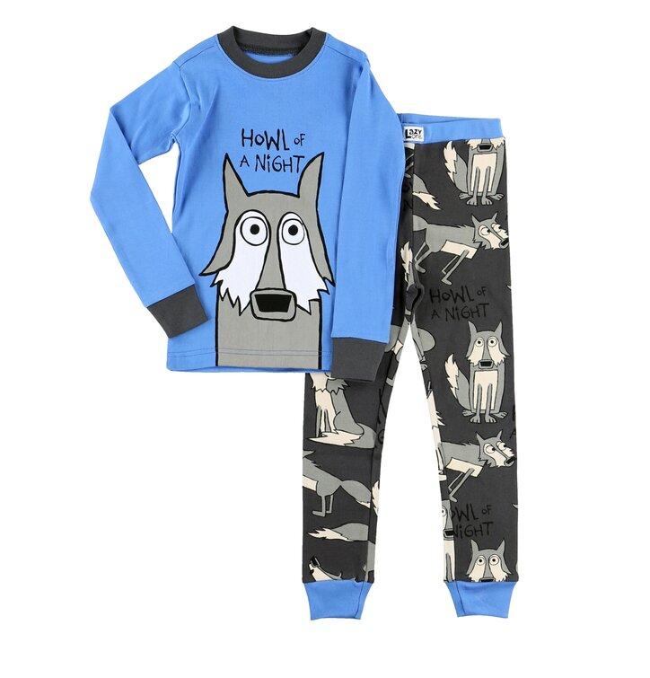 Detské dvojdielne modré pyžamo Nočný vlk