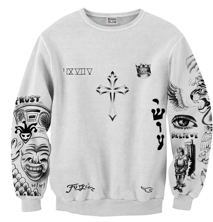 Sweatshirt Tattoos of Justin Bieber
